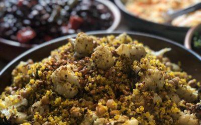 Roasted Cauliflower, Chickpea  Quinoa Salad