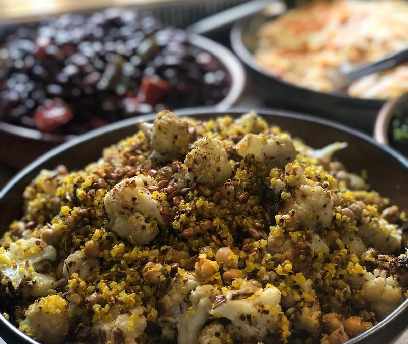 Roasted Cauliflower, Chickpea  Quinoa Salad