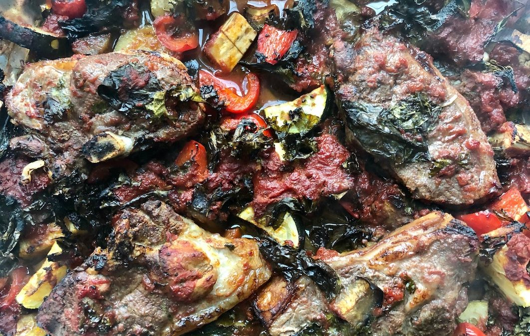 Baked Lamb Chops + Mediterranean Vegetables
