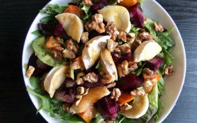 Roasted Beetroot Pumpkin Goats Cheese Salad