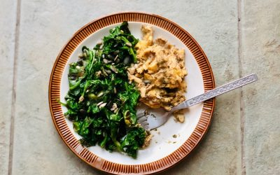 Pesto Scrambled Eggs with Wilted Greens