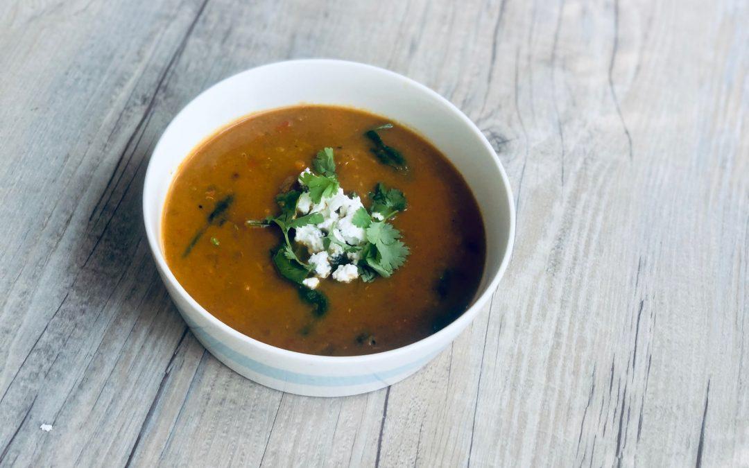 Moroccan Sweet Potato + Lentil Soup