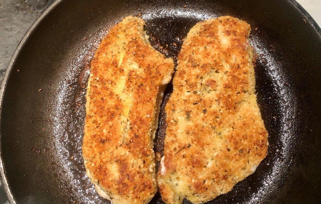 'Cheesy' Herb Chicken Schnitzel